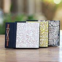 Natural fiber journals, 'Beratan Mosaic II' (set of 3) - Unique Natural Fiber Journals with Mosaic Covers (Set of 3)
