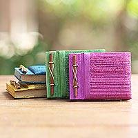 Natural fiber journals, 'Ubud Memoirs' (set of 4) - Colorful Natural Fiber Journals from Bali Artisan (Set of 4)