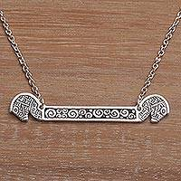 Sterling silver pendant necklace, 'Kuda Lumping'