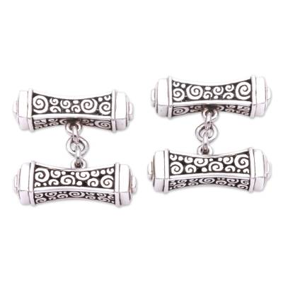 Sterling silver cufflinks, 'Giza' (pair) - Pillar Shaped Sterling Silver 925 Cufflinks from Bali (Pair)