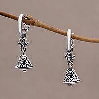 Sterling silver half-hoop earrings, 'Swara Genta'