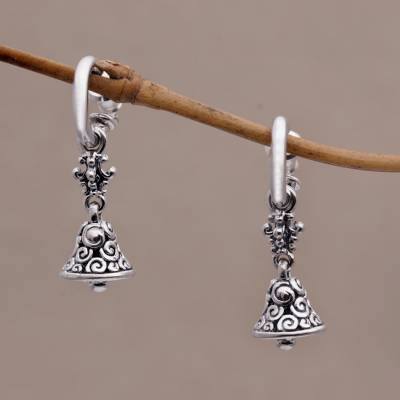Sterling silver half-hoop earrings, 'Swara Genta' - Sterling Silver 925 Half Hoop Earrings with Bell Charms