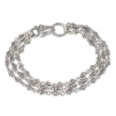 Sterling silver bracelet, 'Rampai' - Triple Strand Sterling Silver Balinese Style Bracelet