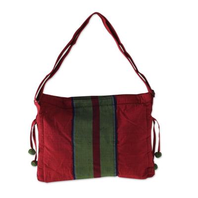 Artisan Crafted Red Green Cotton Sling Shoulder Bag