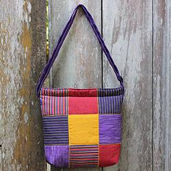 Cotton shoulder bag, 'Purple Joglo' - Purple Cotton Shoulder Bag with Multi Color Patchwork