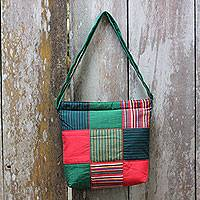 Cotton shoulder bag, 'Green Joglo' - Green Cotton Shoulder Bag with Multi Color Patchwork