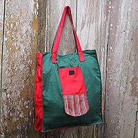 Cotton foldable tote bag, 'Gejayan Green' - Green Red Handwoven Cotton Foldable Tote Shopping Bag