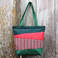 Cotton shoulder bag, 'Merapi Green' - Hand Woven Green Red Cotton Shoulder Bag with Inner Pockets