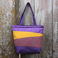 Cotton shoulder bag, 'Merapi Purple' - Hand Crafted Purple Cotton Shoulder Bag with Inner Pockets