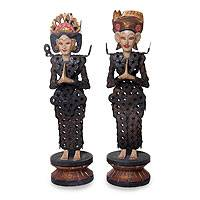 Wood and iron statuettes, 'Balinese Couple' (pair) - Hand Made Balinese Wedding Statuettes with Coins (Pair)