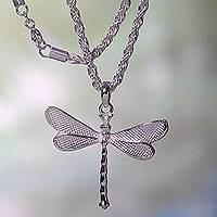 Sterling silver pendant necklace, 'White Dragonfly'