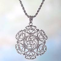 Sterling silver pendant necklace, 'Legian Lace' - Unique Lacy Sterling Silver 925 Pendant Necklace