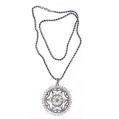 Hand Made Silver Pendant Necklace with Lacy Motif