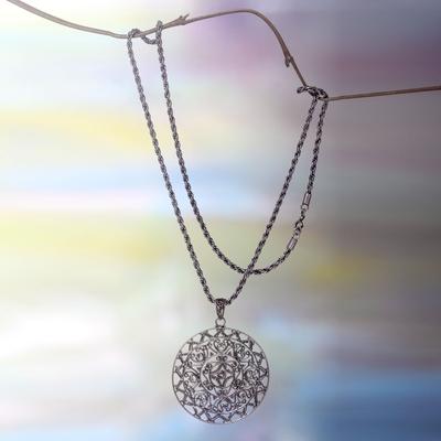 long silver heart pendant