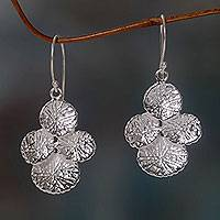 Sterling silver dangle earrings, 'Antanan Leaves' - Sandblasted Silver Leaf Dangle Earrings Handmade in Bali