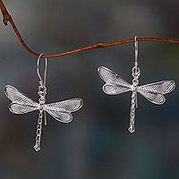 Sterling silver dangle earrings, 'White Dragonfly' - Dragonfly Earrings in Sandblasted Sterling Silver 925