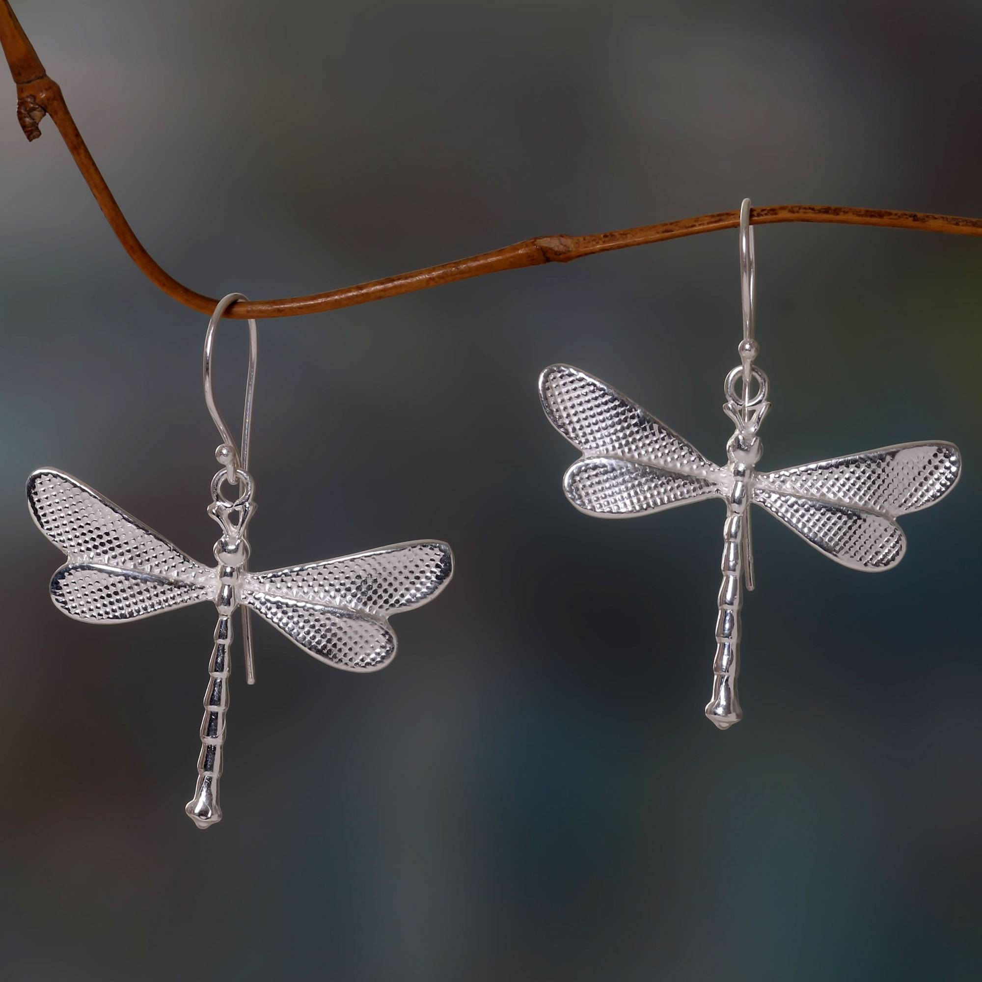 TINY Dragonfly sterling silver stud earrings .925 x 1 pair insect studs CI201209