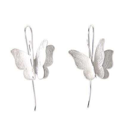 Sterling silver drop earrings, 'Silver Butterfly' - Brushed Sterling Silver Butterfly Drop Style Earrings