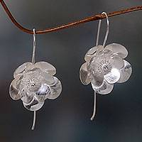 Sterling silver drop earrings, 'Silver Bloom' - Flower Blossom Drop Earrings in Brushed Sterling Silver
