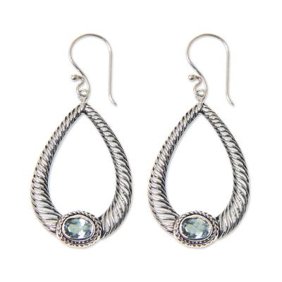 Faceted Blue Topaz and Sterling Silver Dangle Earrings