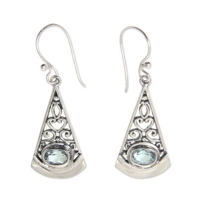 Artisan Crafted Sterling Silver Earrings with Blue Topaz