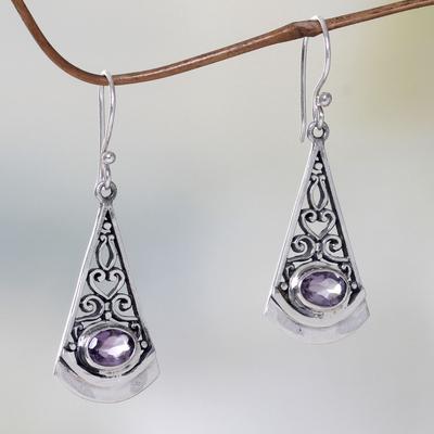 Amethyst dangle earrings, 'Mount Agung Lilac' - Lilac Amethyst and Sterling Silver Dangle Earrings from Bali