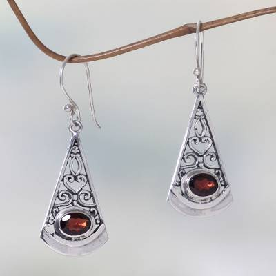 Garnet dangle earrings, 'Mount Agung Crimson' - Natural Garnet Dangle Earrings in 925 Sterling Silver