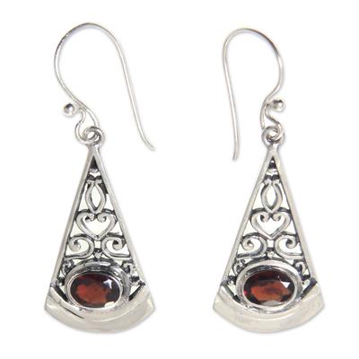 Garnet dangle earrings, 'Mount Agung Crimson' - Natural Garnet Dangle Earrings in 925 Sterling Silver