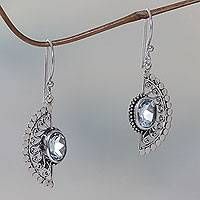 Blue topaz dangle earrings, 'Blue Eyes'