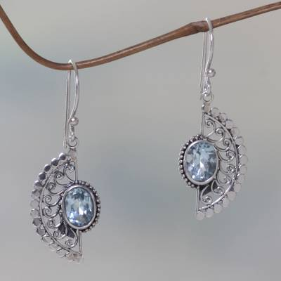 Blue topaz dangle earrings, 'Blue Eyes' - Sterling Silver Hook Earrings with Blue Topaz Gems