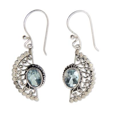 Sterling Silver Hook Earrings with Blue Topaz Gems