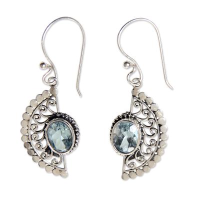Blue topaz dangle earrings, 'Blue Eyes' - Sterling Silver Hook Earrings with Blue Topaz Gems