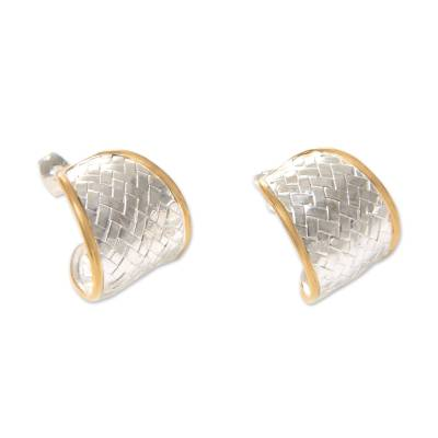 Gold accented half-hoop earrings, 'Celuk Weave' - Half Hoop Earrings in Sterling Silver with 18k Gold Accents