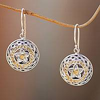Gold accent sterling silver dangle earrings, 'Star Aura'