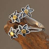 Gold accent sterling silver wrap ring, 'We're Stars'