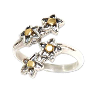 Gold accent sterling silver wrap ring, 'We're Stars' - Balinese 18k Gold Accent Sterling Silver Wrap Ring