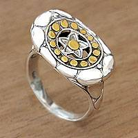 Gold accent sterling silver cocktail ring, 'Starlight' - Modern Balinese Silver Star Motif Ring with 18k Gold Accents