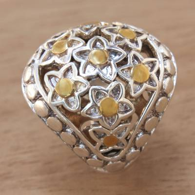 Gold accent sterling silver dome ring, 'Stars Over Sanur' - Silver Dome Ring with Stars and 18k Gold Accents