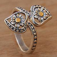 Gold accent sterling silver wrap ring, 'Blossoming Hearts' - Flower Theme 18k Gold Accent Sterling Silver Wrap Ring
