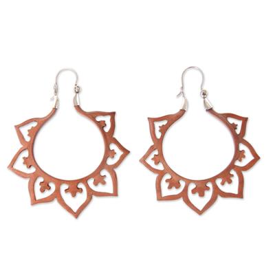 Wood hoop earrings, 'Fiery Lotus' - Balinese Wood and Sterling Silver Handmade Hoop Earrings