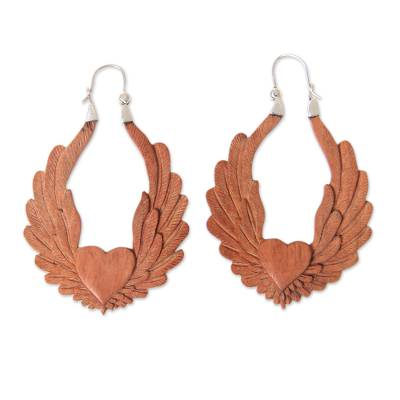 Artisan Crafted Balinese Wood and Silver Hoop Earrings