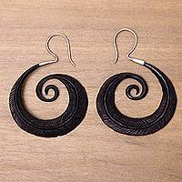 Water buffalo horn dangle earrings, 'Feather Spiral' - Silver Hook Water Buffalo Horn Earrings with Feather Theme