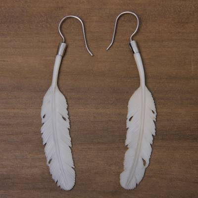 Bone dangle earrings, 'White Dove' - Handcrafted Silver Hook Bone Earrings with Feather Theme