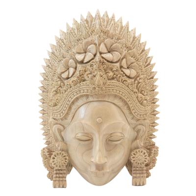 Wood mask, 'Janger Lady' - Hand Carved Natural Wood Balinese Janger Dance Mask