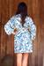 Rayon robe, 'Blue Floral Jungle' - Silk Screen Print Women's Blue and Ivory Rayon Robe (image 2d) thumbail