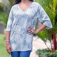 Rayon caftan, 'Dandelion Shadow' - V-Neck Hand Stamped Rayon Caftan with Butterfly Sleeves