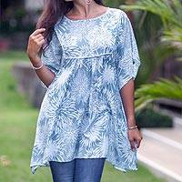 Rayon tunic, 'Dandelion Shadow' - Rayon Butterfly Sleeve Hand Stamped Woman's Long Tunic