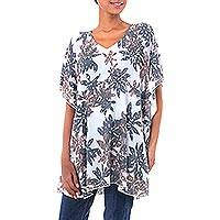 Rayon caftan, 'Ylang Flower' - Bali Brown and Black Hand Stamped White Rayon Caftan