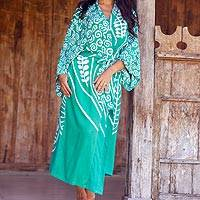 Rayon robe, 'Bali Breeze' - Silk Screen Green and Ivory Print Women's Rayon Robe