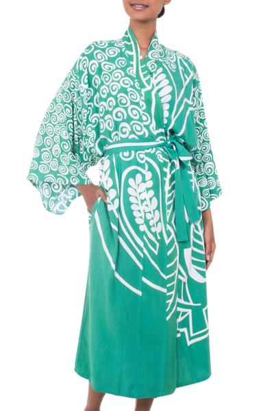 Silk Screen Green and Ivory Print Women